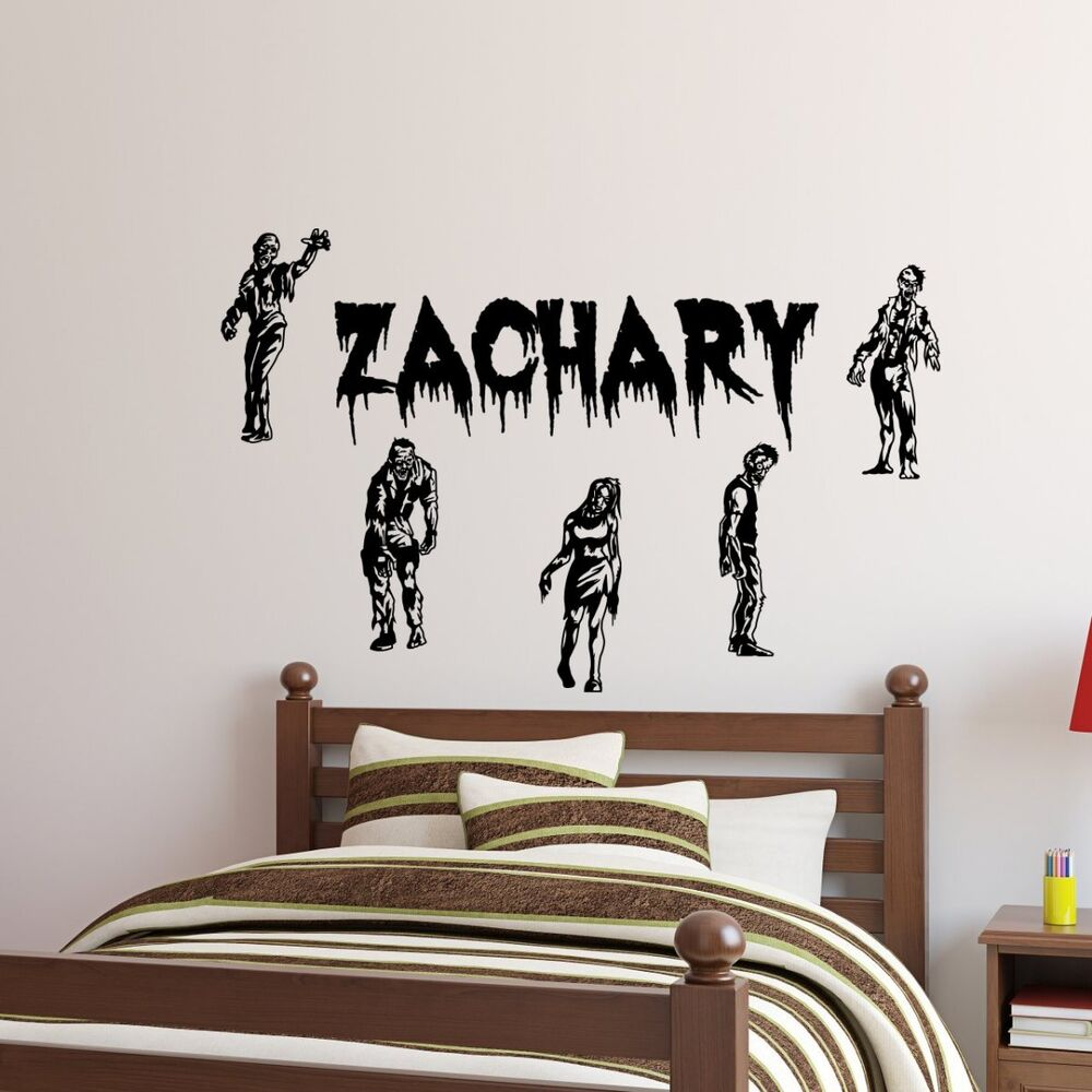 personalized name 5 zombies walking dead vinyl wall decal. Black Bedroom Furniture Sets. Home Design Ideas