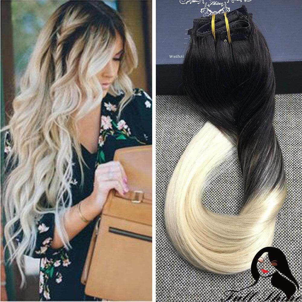 Thick Deluxe 1b 613 Balayage Ombre Clip In Remy Human Hair