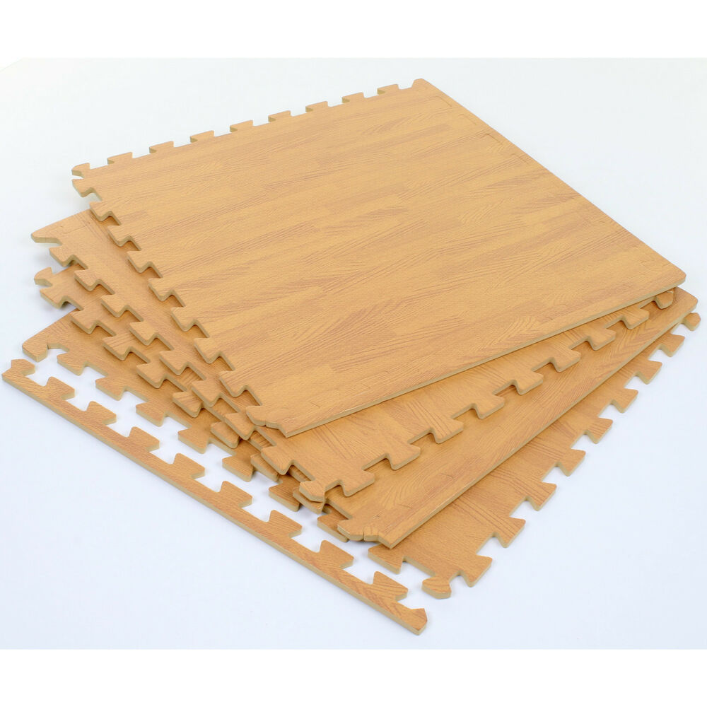 INTERLOCKING EVA SOFT FOAM MATS FLOOR MAT WOOD EFFECT PLAY