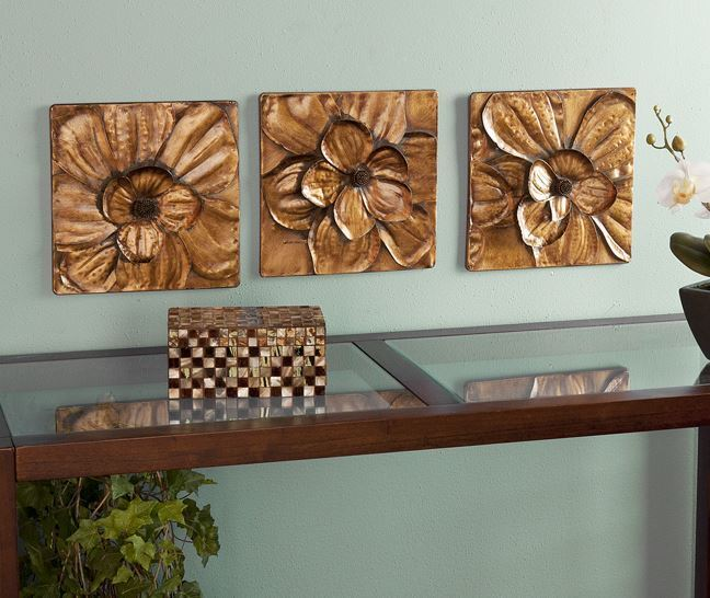 Gold Flower Metal Wall Sculpture Art Contemporary Home