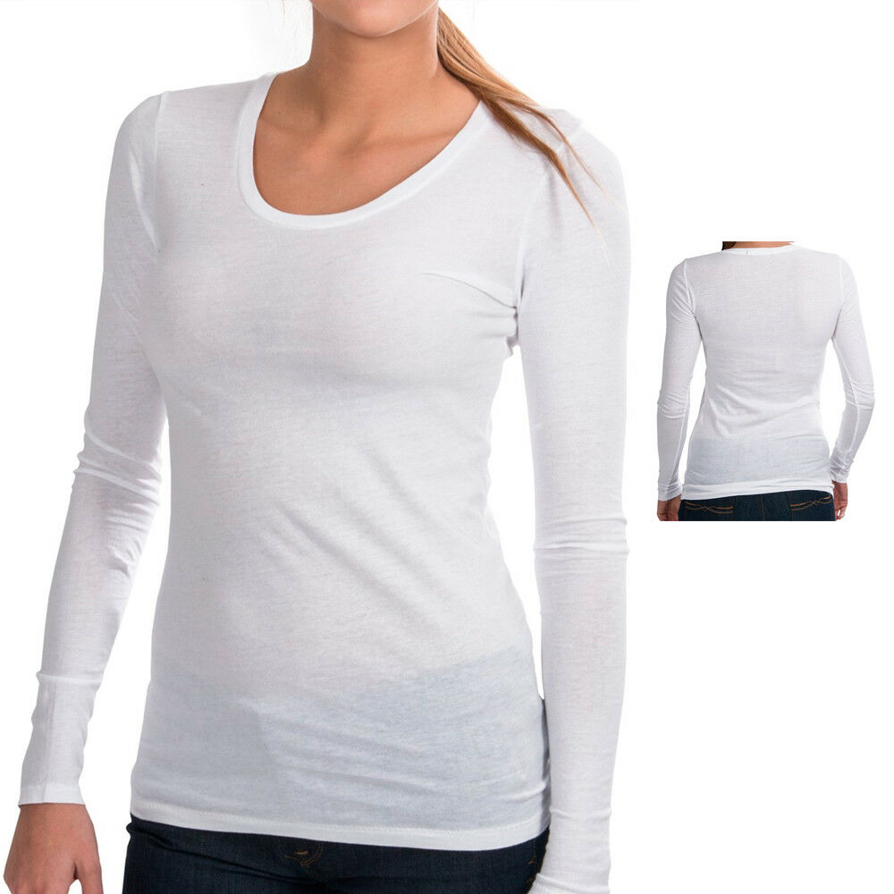 Basic Long Sleeve Solid Top T Shirt Stretch Tight Fit Crew