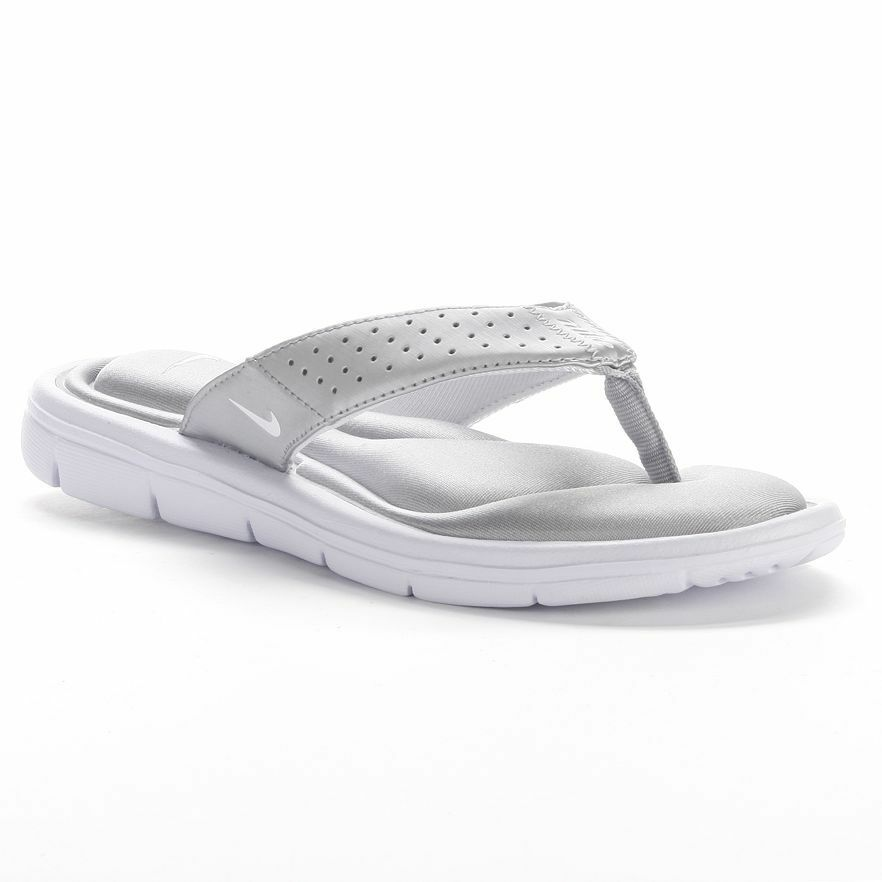 New Womens Nike Comfort Flip Flops Thong Sandals Silver -7520