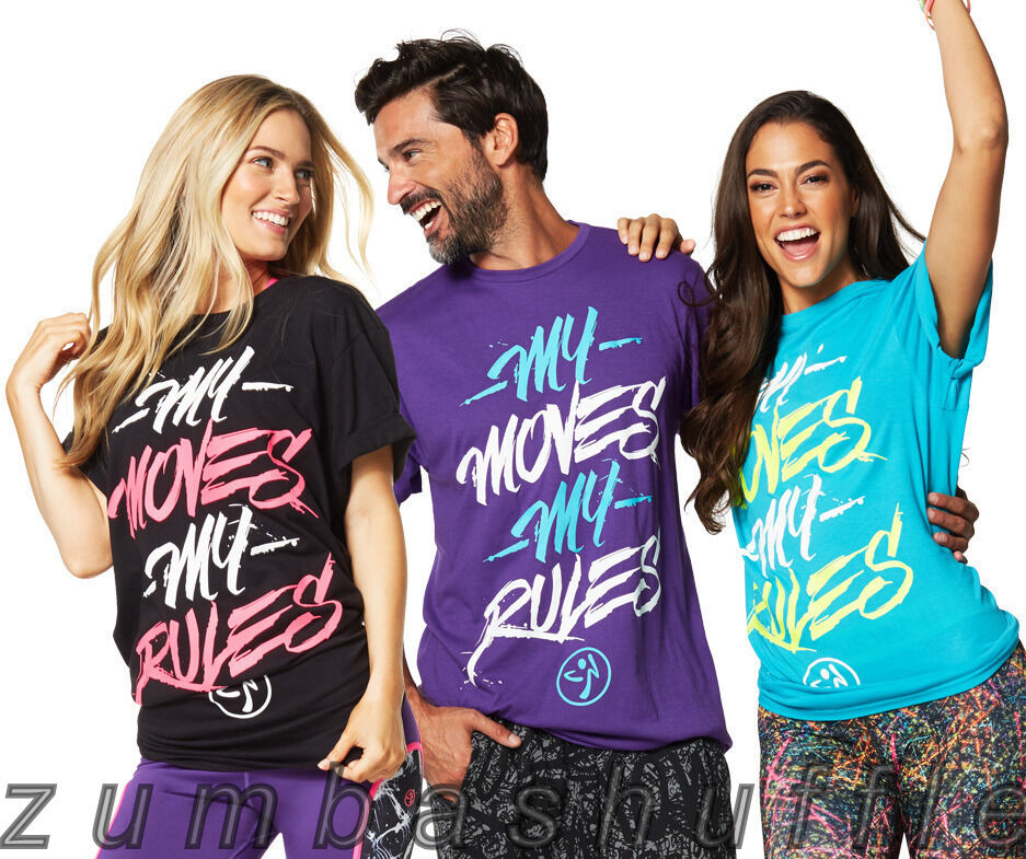 zumba fitness my moves my rules tee black blue purple t shirt new ebay. Black Bedroom Furniture Sets. Home Design Ideas