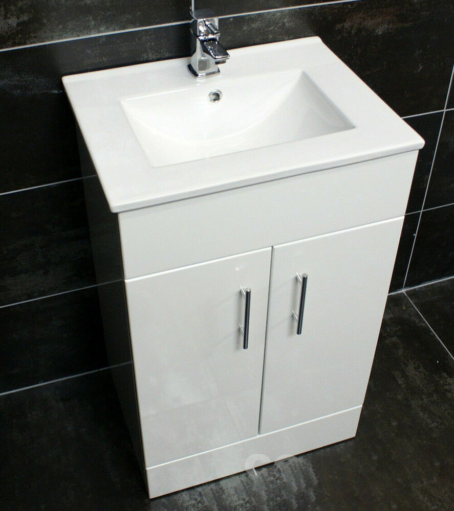 Naomi 500mm Square Vanity Unit + Ceramic Basin Sink Bathroom Storage ...