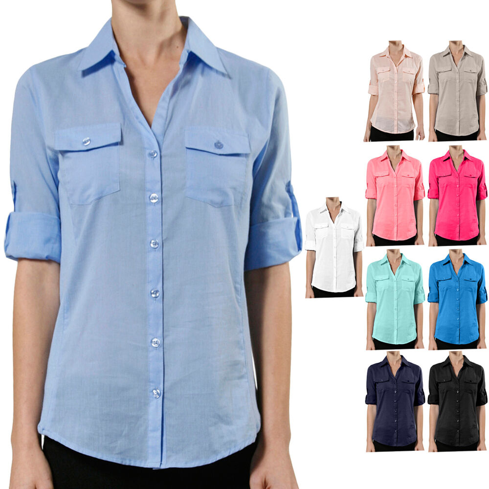 Ne people womens roll up elbow sleeve cotton button down for Women s button down dress shirts