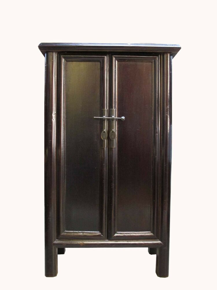 Chinese antique dark brown color walnut low cabinet ebay for Antique asian cabinet