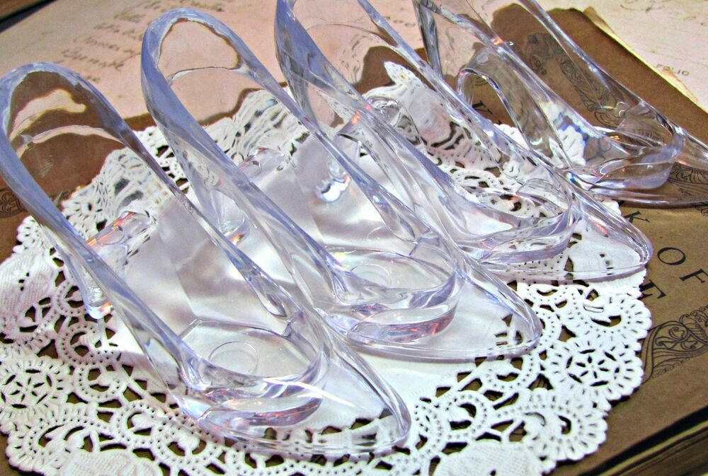 Clear cinderella glass slippers cake topper wedding