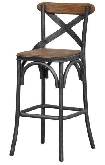 24 Rustic Wood Counter Stool Metal Seat Modern Industrial