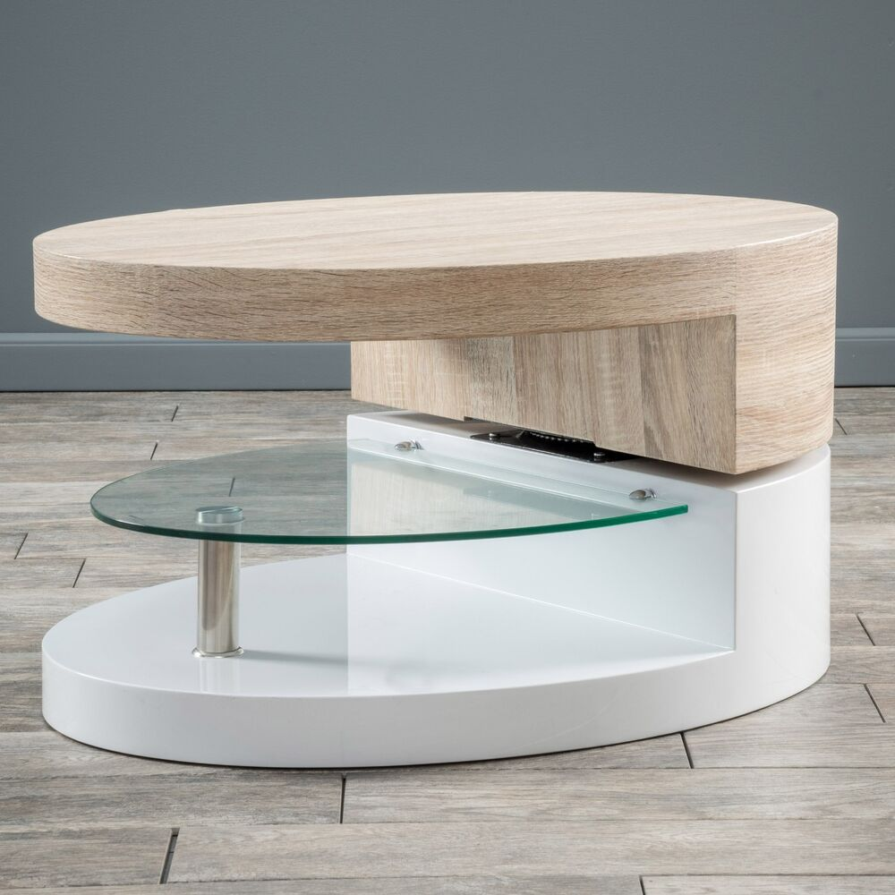 Modern Oval White High Gloss Glossy Lacquer Coffee Table: Modern Design White Gloss, Wood Oval Swivel Rotating