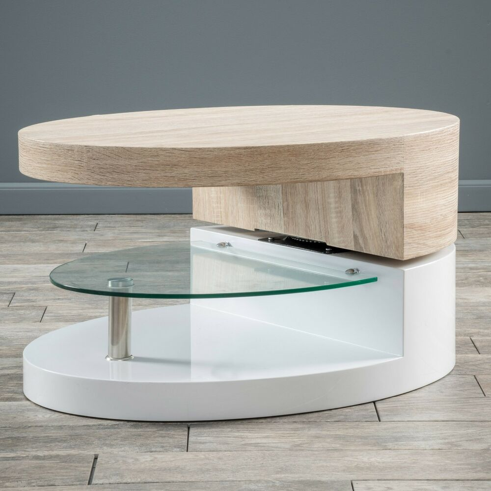 Oval Rotating Coffee Table: Modern Design White Gloss, Wood Oval Swivel Rotating
