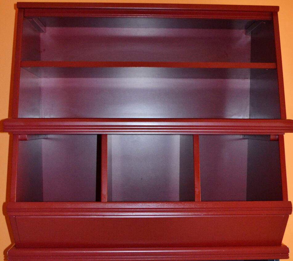 the land of nod 3 bin with 2 shelves palooza bookcase tomatoe red ebay. Black Bedroom Furniture Sets. Home Design Ideas