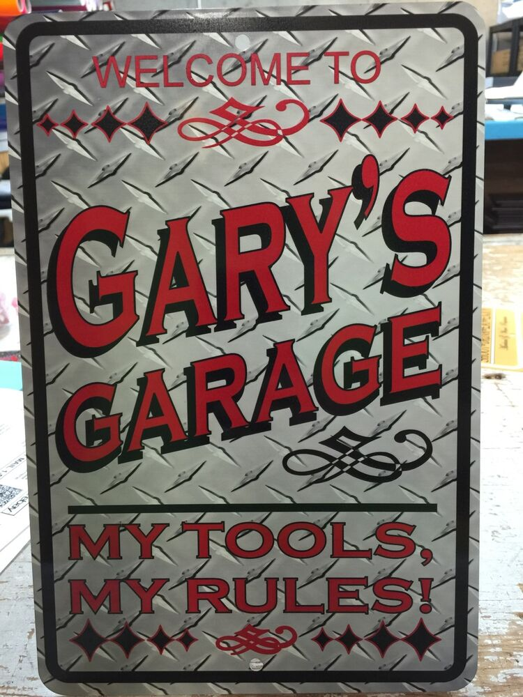 Personalized Garage Signs For Automotive : Metal personalized diamond plate image signs man cave