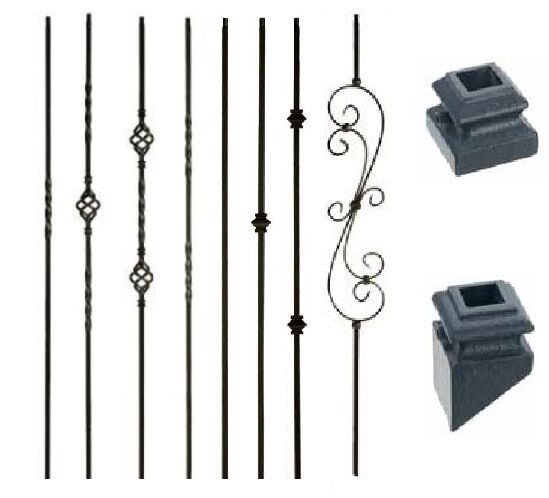 Iron Balusters Metal Spindles Stair Parts Twists, Baskets, Scrolls   Satin  Black