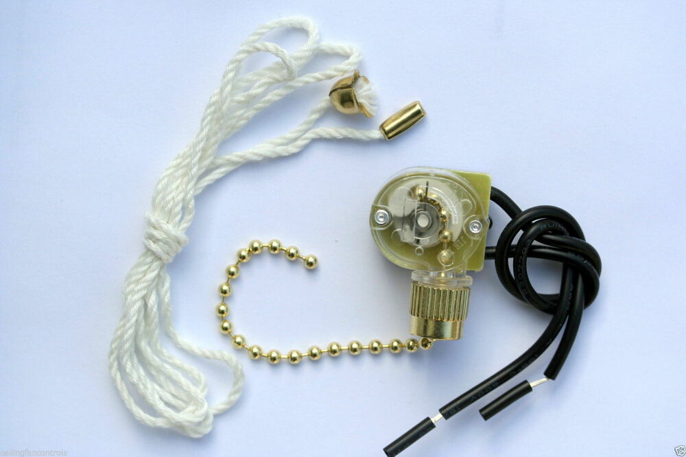 10 New Hq Brass Pull Chain Switch W Cotton Pull Cord