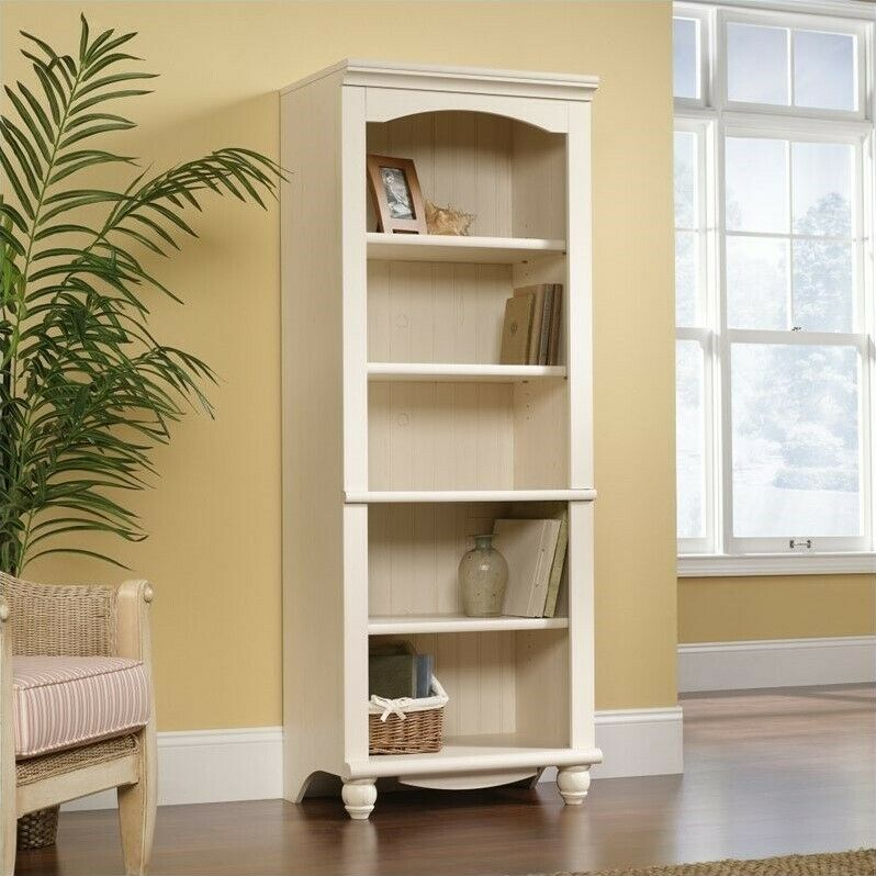 Sauder Harbor View Library 5 Shelf Bookcase In Antiqued White Ebay