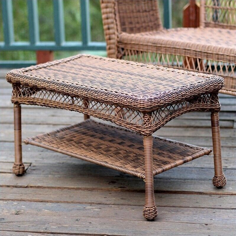 Lowes Wicker Coffee Table: Jeco Wicker Patio Furniture Coffee Table In Honey