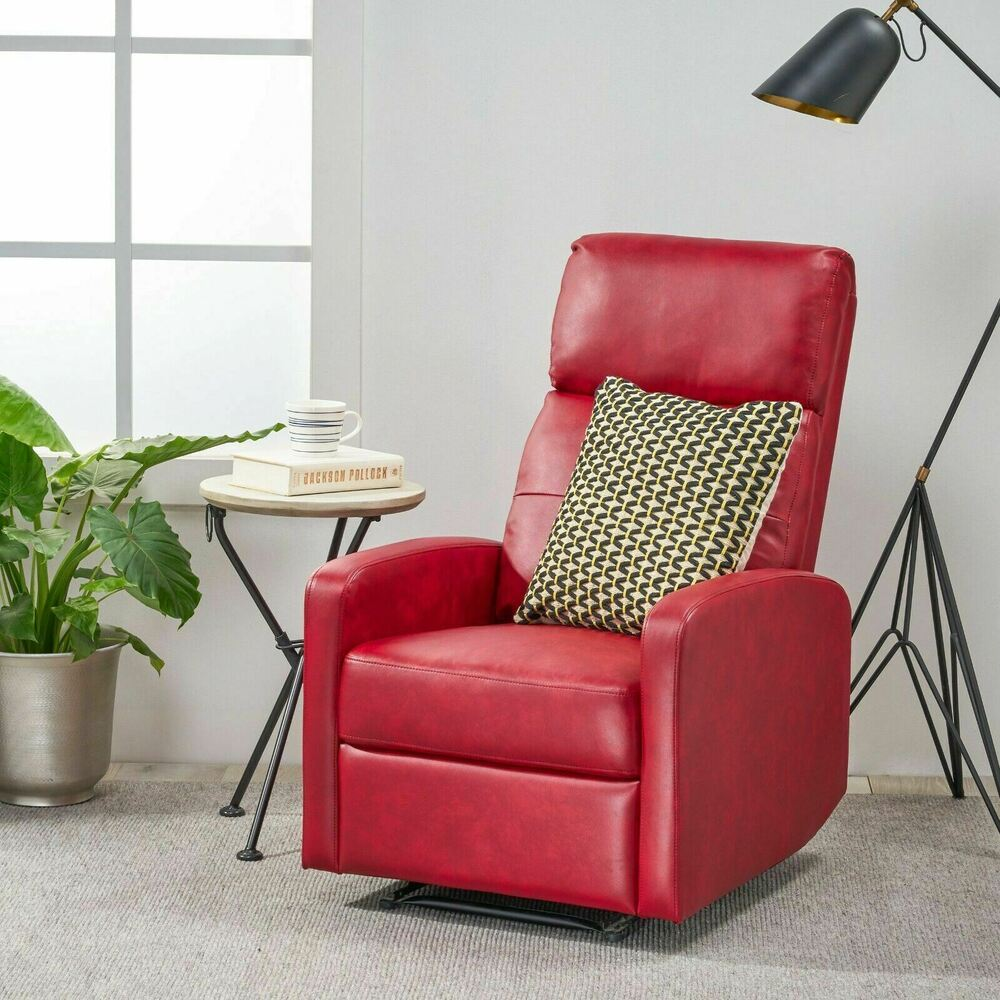 Contemporary red leather recliner club chair ebay for Contemporary leather lounge chairs