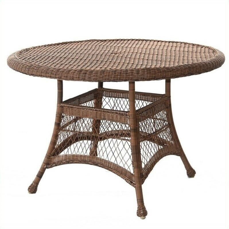 Outdoor patio furniture wicker 44 round dining table in for Wicker patio table