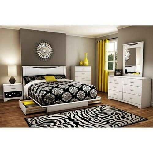 4 Piece White Queen Full Bedroom Furniture Set Bed Storage