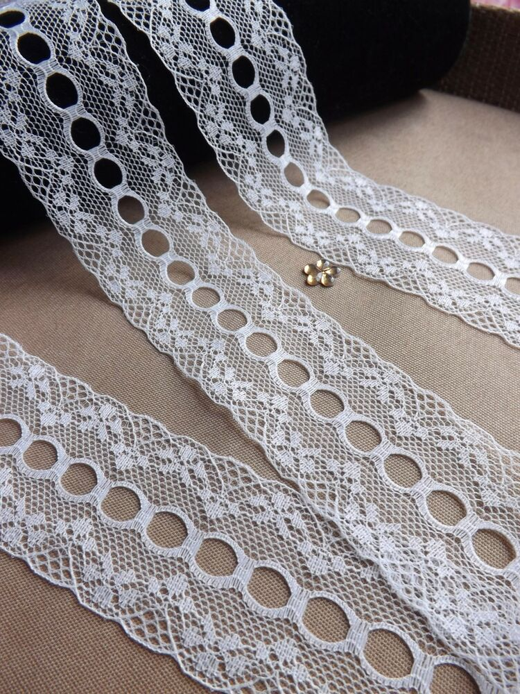 Vintage ivory lace ribbon trim 40mm wide bridal crafts ebay for Craft ribbons and trims