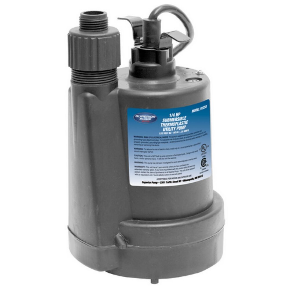 Superior 1  4 Hp Submersible Thermoplastic Utility Pump
