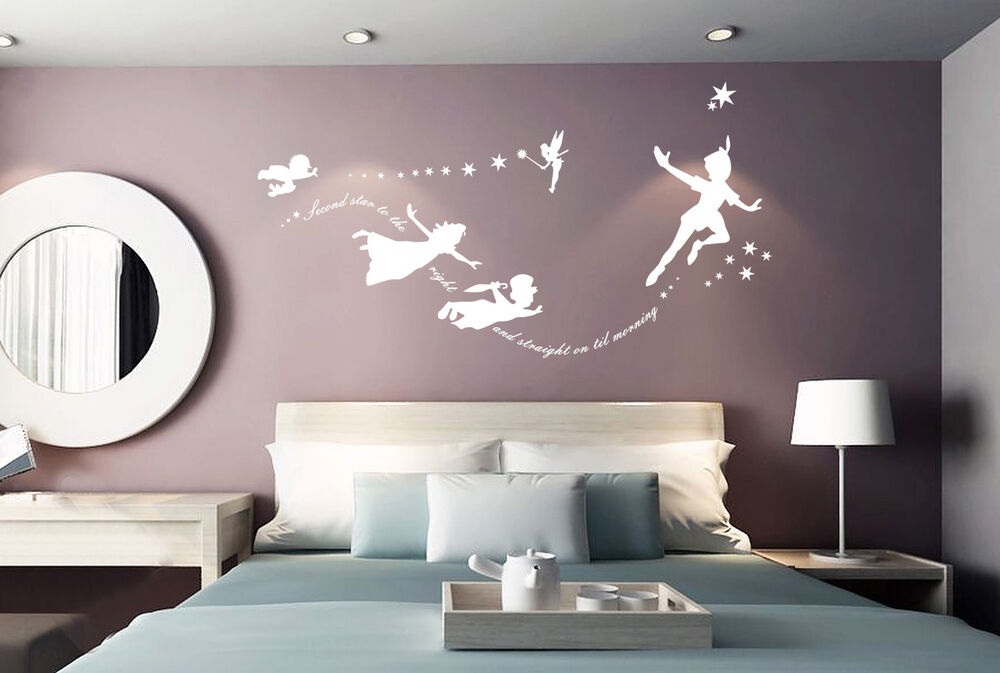 Hand Carving PETER PAN STAR FAIRY Words Quote Wall ART Sticker UK Decor RUI20