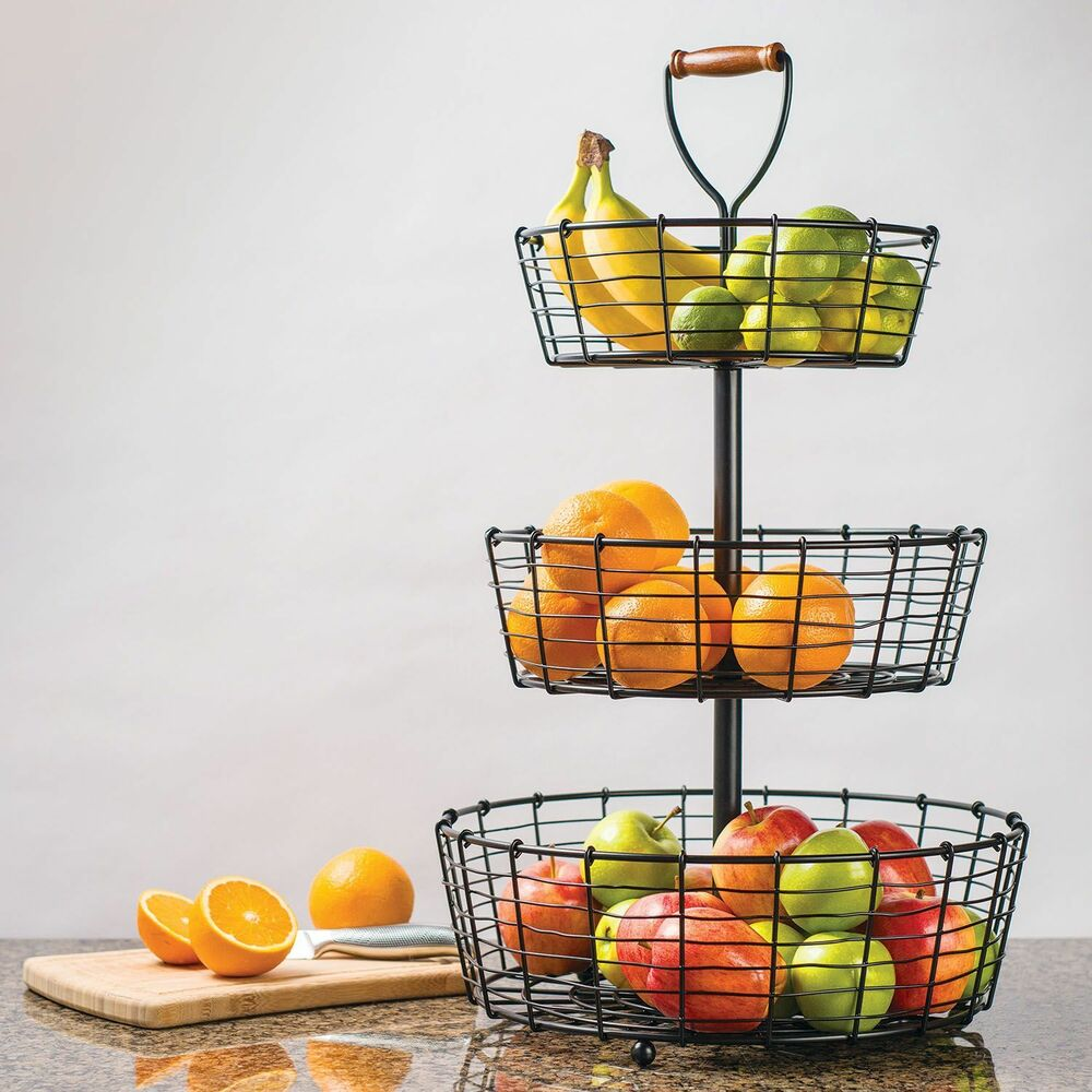 giftburg 3 tier wrought iron wire basket fruit food bath items item holder ebay. Black Bedroom Furniture Sets. Home Design Ideas