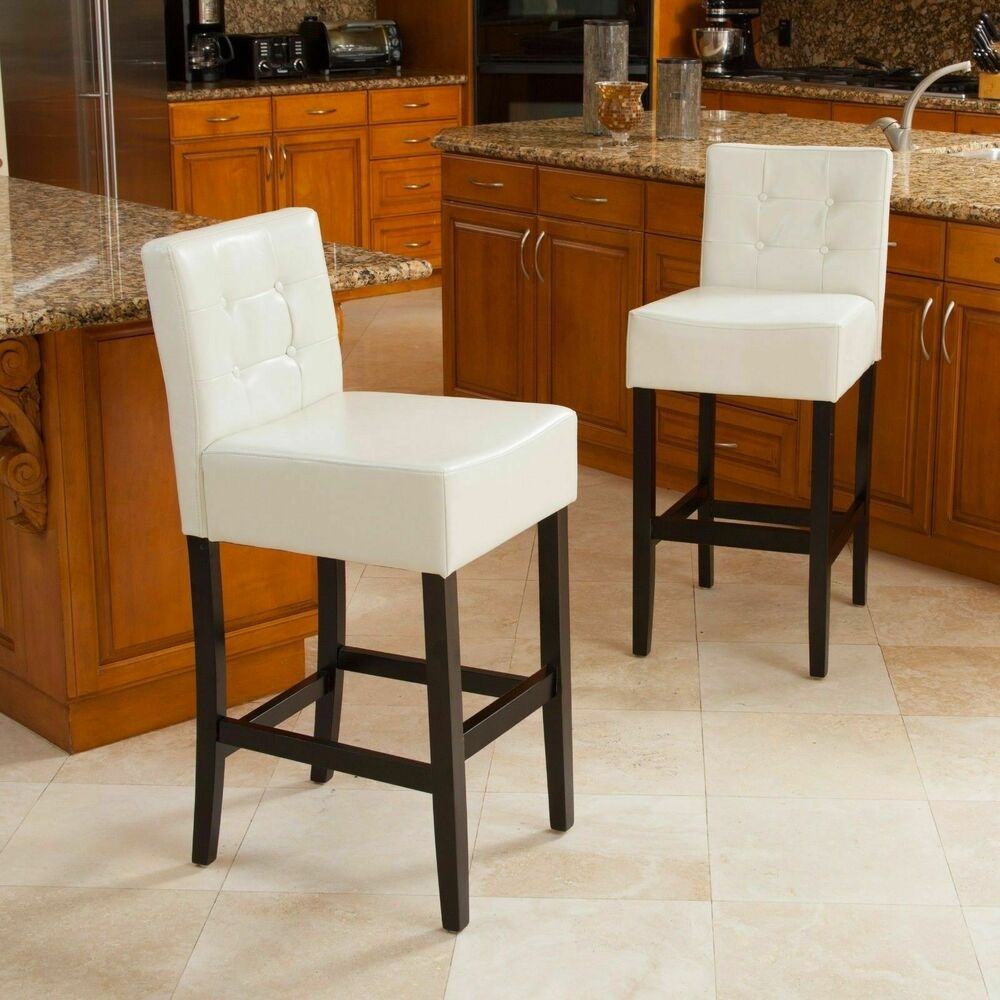 Set Of 2 Dining Room Ivory Tufted Leather Back Bar Stools