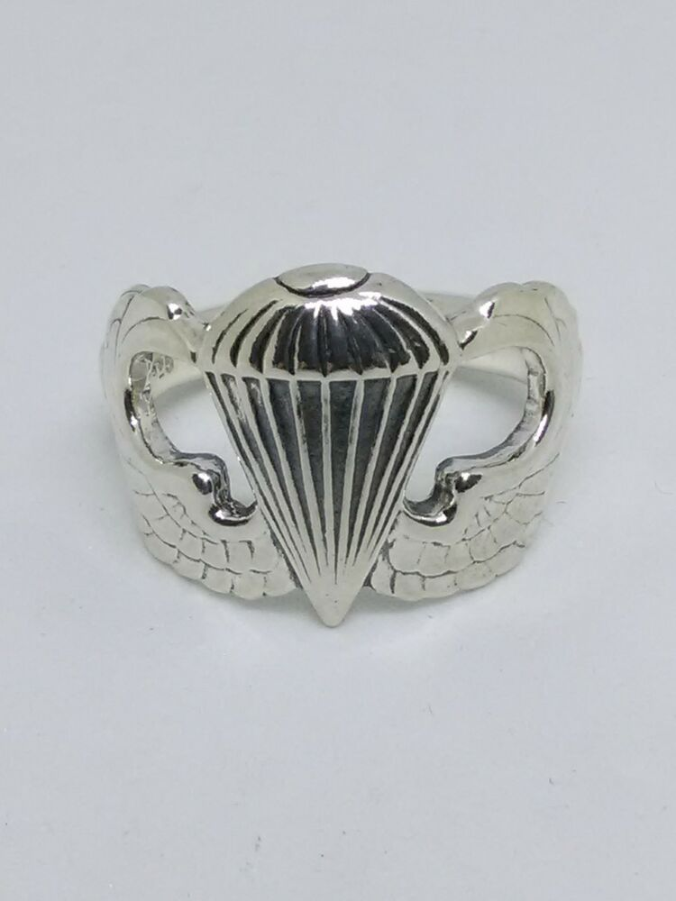 Mens Us Army Airborne Basic Parachutist Jump Wing Ring
