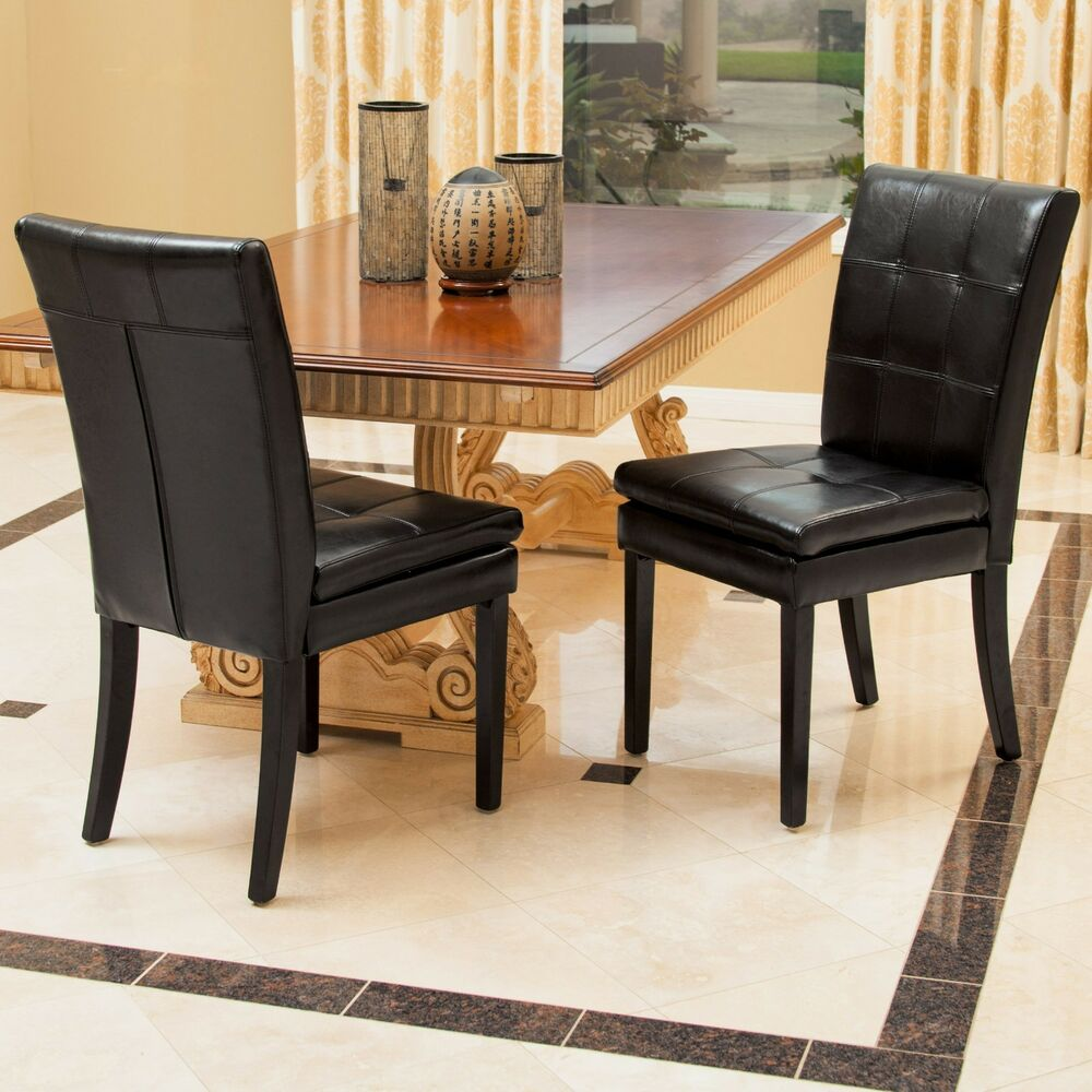 Set of 2 dining room furniture black leather dining chairs for Black leather dining chairs