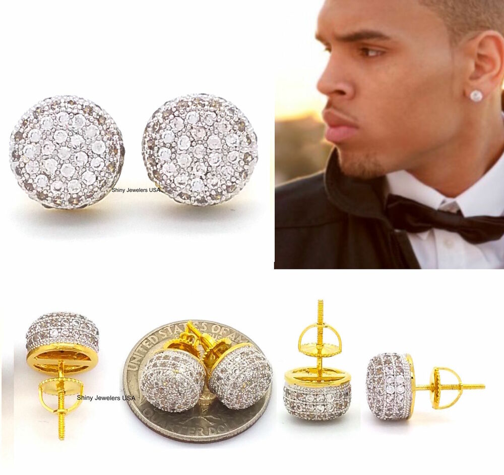 MENS 18K YELLOW GOLD FILLED LAB DIAMOND SCREW BACK HIP HOP ...