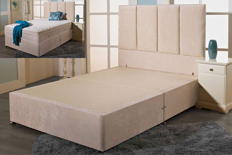 Double 4ft6 chenille divan bed base cream grey for Grey divan bed base