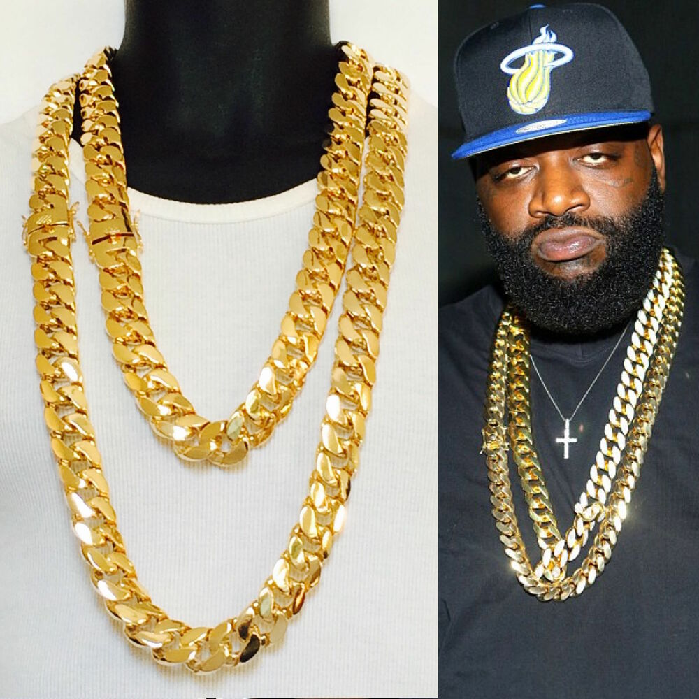 2 Chains 21mm 38 Inches Miami Curb Cuban Heavy Gold Finish