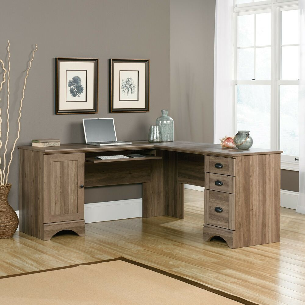Corner computer desk salt oak harbor view collection for Furniture oak harbor