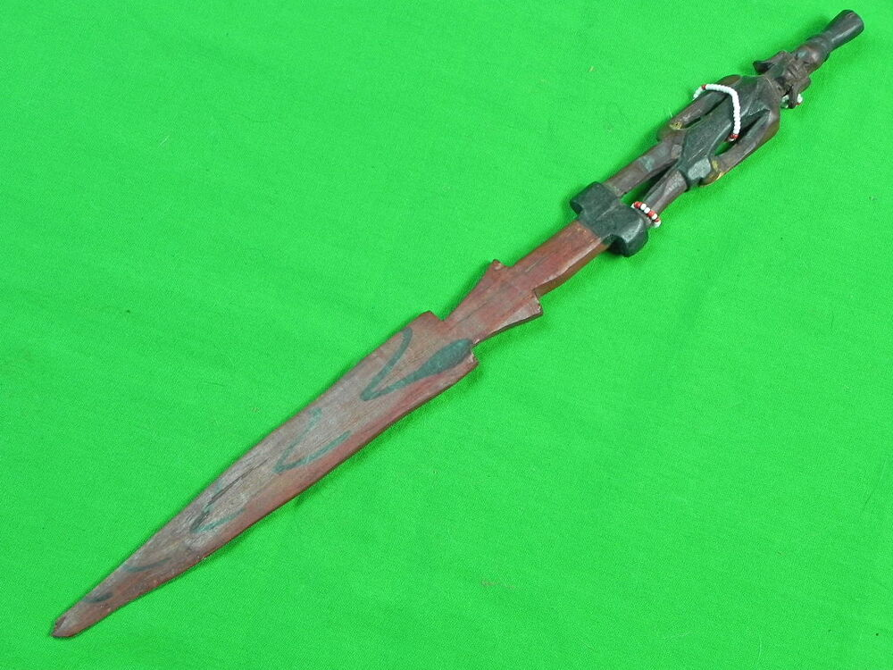 Africa African Custom Hand Made Carved Wood Tribal Ceremonial Knife Spear Stick Ebay