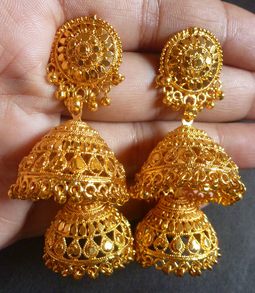 Indian 22k Gold Plated Wedding Necklace Earrings Jewelry: 22K Gold Plated 2 Steps Bridal Wedding Indian Jhumka
