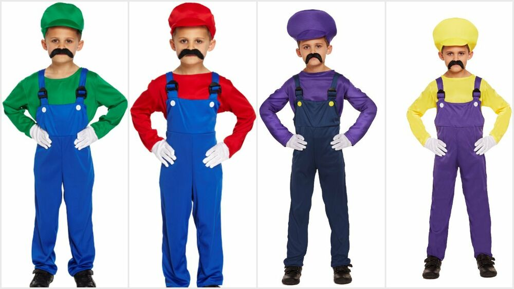 BOYS KIDS SUPER MARIO BROS LUIGI WARIO WALUIGI FANCY DRESS ...Waluigi And Wario Costumes
