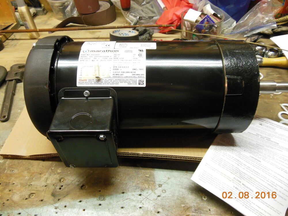 Marathon electric motor 3 phase 2 hp part 96020045 rpm 39 s for 3 phase 3hp motor