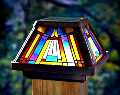 Solar Light Post Cap Lamp Tiffany Style Stained Glass Led