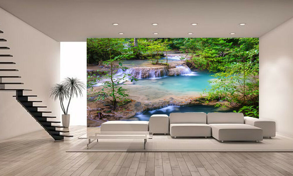 waterfall thailand wall mural photo wallpaper giant decor paper poster ebay. Black Bedroom Furniture Sets. Home Design Ideas