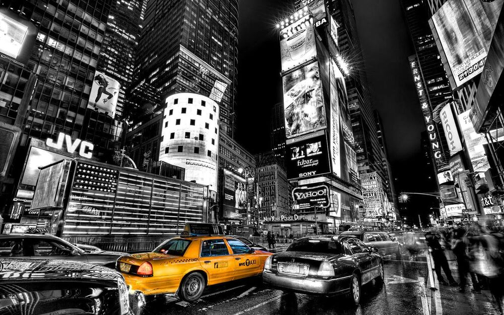 Framed print black white new york time square with yellow taxi picture art ebay