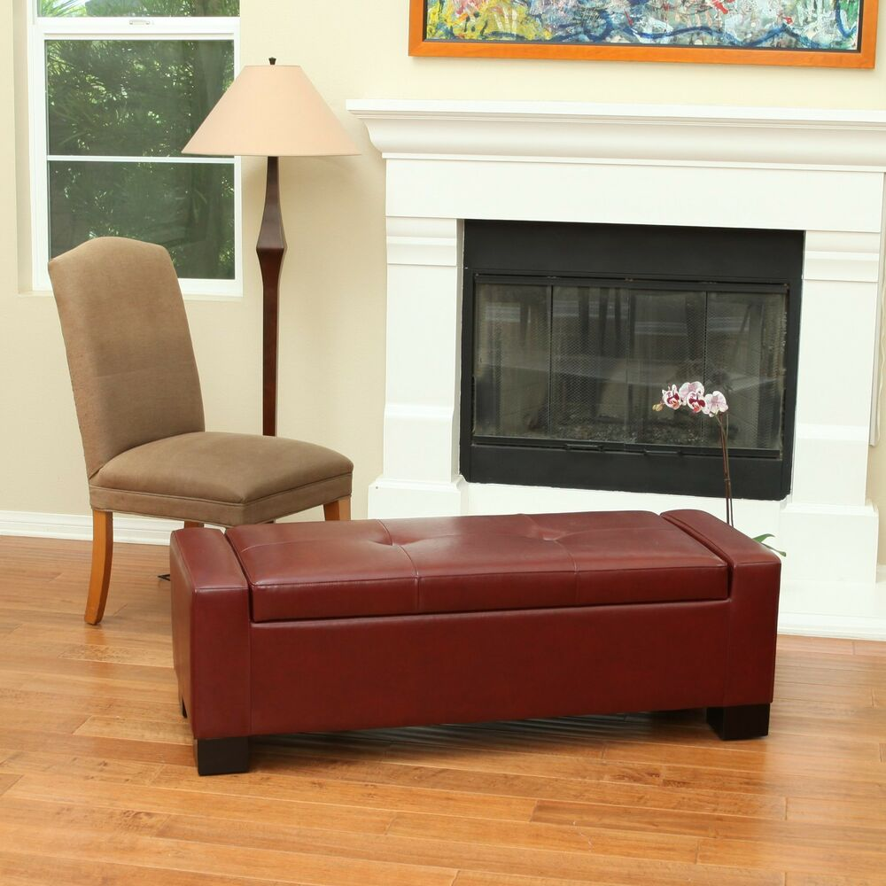 Red Leather Storage Ottoman Bench Ebay