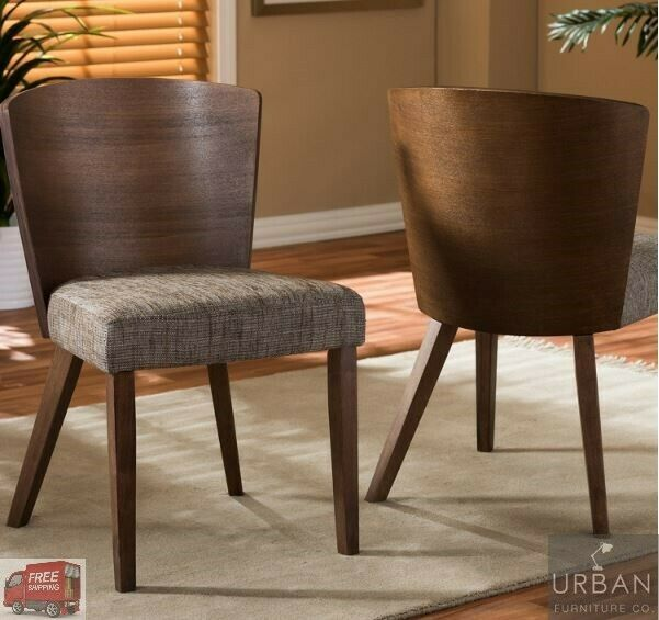Set Of 2 Dining Mid-Century Wood Chairs Retro Modern Grey
