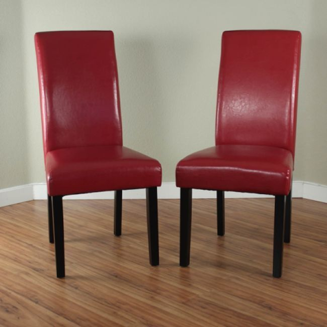 Red dining chairs 2 villa faux leather table kitchen for Leather chairs for kitchen table