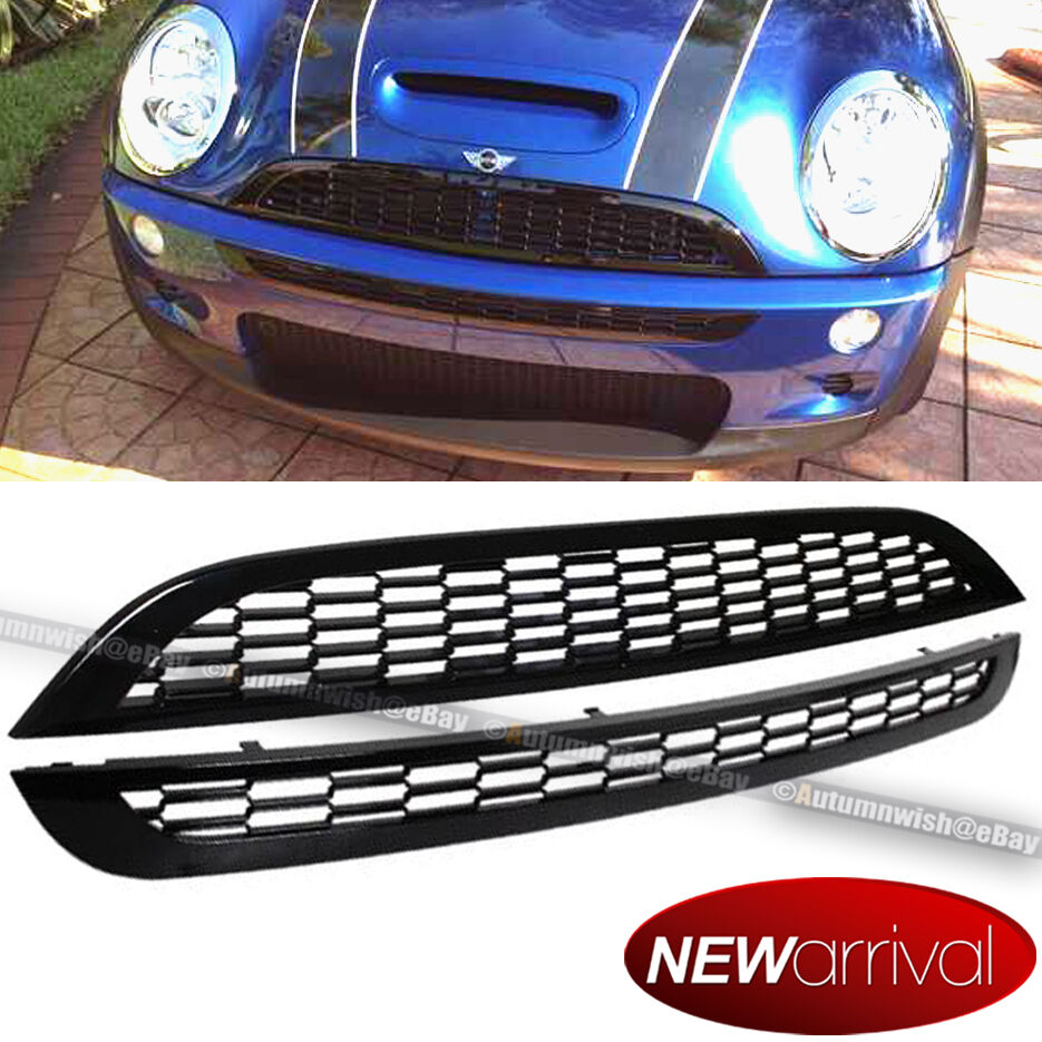 fit 02 06 mini cooper r50 r52 r53 jcw style 2 pcs honeycomb mesh grill grille ebay. Black Bedroom Furniture Sets. Home Design Ideas