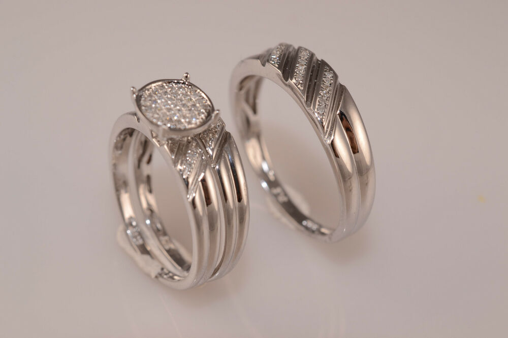 Men and ladies diamond trio set wedding engagement rings for Ladies diamond wedding ring sets