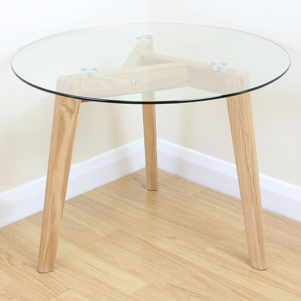 Modern Round Wooden Coffee Table 110: Solid Oak & Clear Glass Modern Round Side End Table Coffee