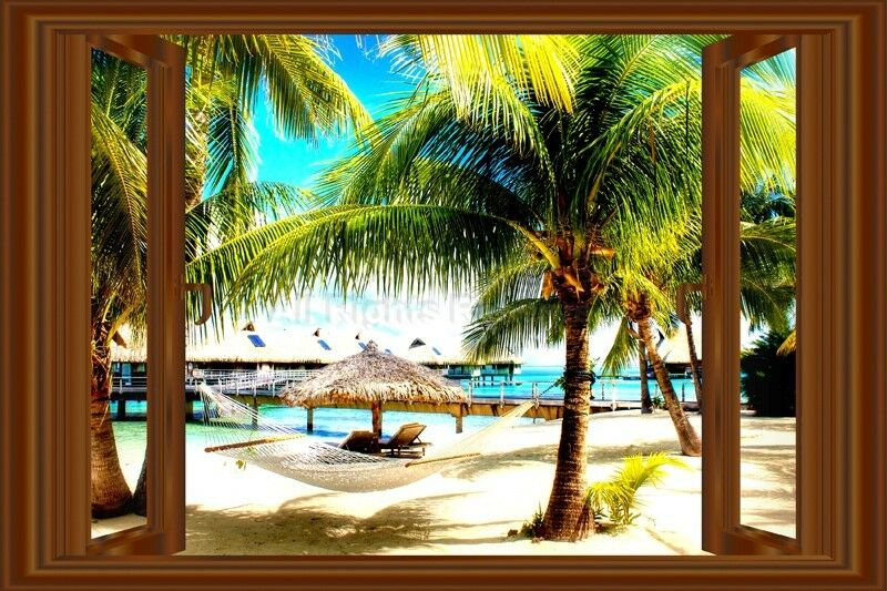 Home Decor Mural Art Wall Paper Stickers ~ D window decal wall sticker home decor beach palms view