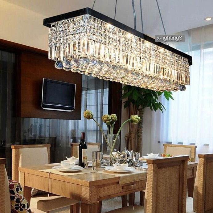 "Dining Room Modern Crystal Chandeliers: 40"" Modern Crystal Pendant Light Ceiling Lamp Chandelier"