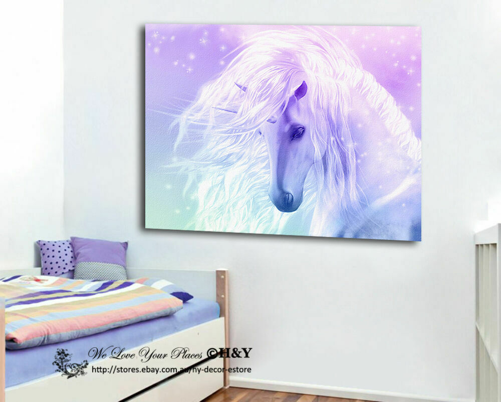 Unicorn stretched canvas print framed wall art kids room decor painting cartoon ebay for Canvas prints childrens bedrooms